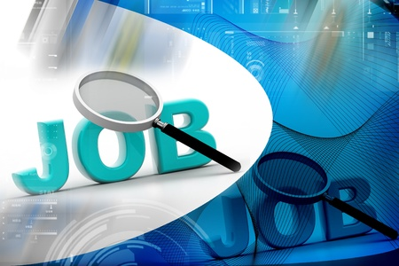 The word JOBS is magnified in light background Stock Photo - 9574793