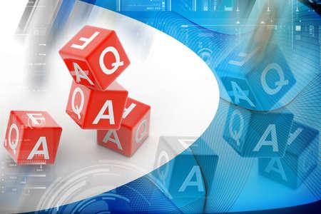Digital illustration  of Faq cube in color background Stock Illustration - 9574790