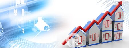 Highly rendering of house and increasing arrow in color background