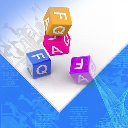 Highly rendering of Faq cube in color background photo