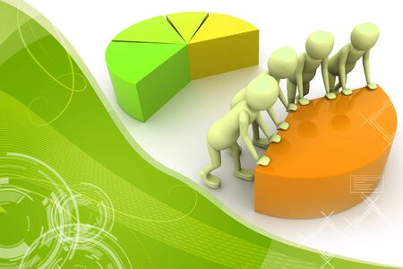 teamwork cartoon: 3d pie chart for teamwork concept