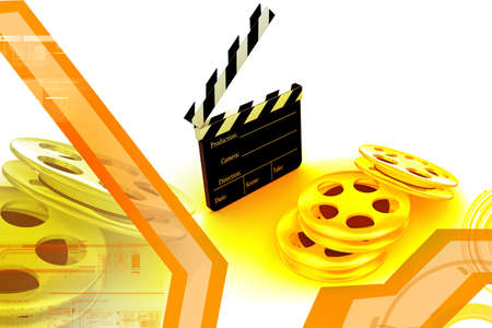 3d movie objects , clipper and reel roll photo