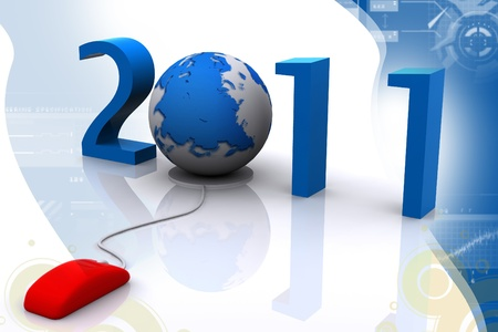 modern computer mouse connected to the date 2011 and a globe - welcome the new year photo