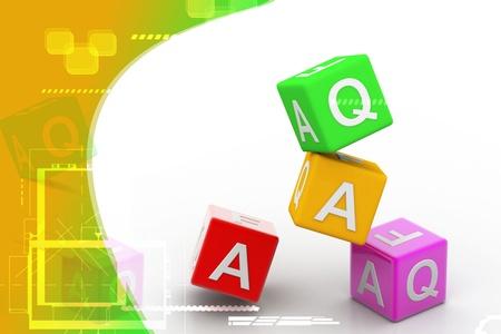 Digital illustration  of Faq cube in color background illustration
