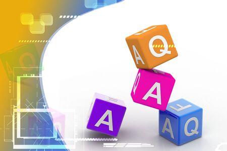 Digital illustration  of Faq cube in color background Stock Illustration - 9597505