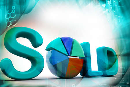 Sold concept of pie chart Stock Photo - 9597698