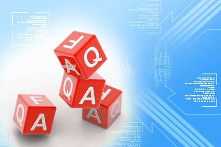 Highly rendering of Faq cube in white background photo