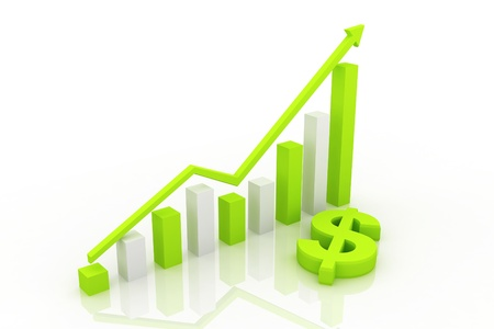 business graph with arrow   photo