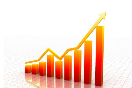 business graph with arrow   Stock Photo - 9729266