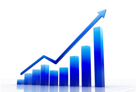 financial gains: business graph with arrow