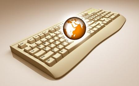 globe on keyboard photo