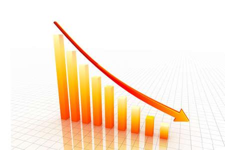 3d graph showing decrease in benefits or earnings Zdjęcie Seryjne