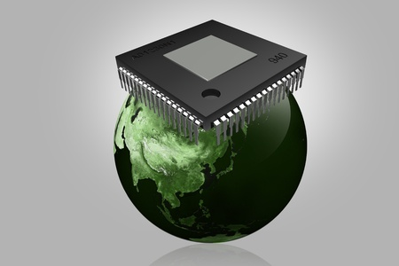 computer chip and world  in isolated background  photo