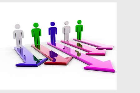 multidirectional: Man and Multidirectional Arrow  Stock Photo