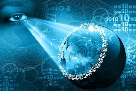 digital eye:  Concept of digital earth  and eye   Stock Photo