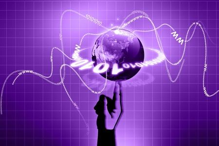 Planet Earth Balanced Finger Tip, Hand Holding Globe  photo