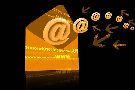 email icon coming out of open envelope  photo