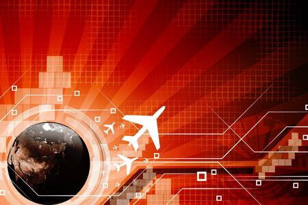 around the world: An airline passenger jet airplane travels around the world.