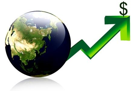 ertrag: 3D-Globus und graphische Darstellung Anstieg der Nutzen oder Gewinn Lizenzfreie Bilder