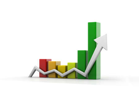 achievement concept: 3d graph showing rise in business benefits or earnings Stock Photo
