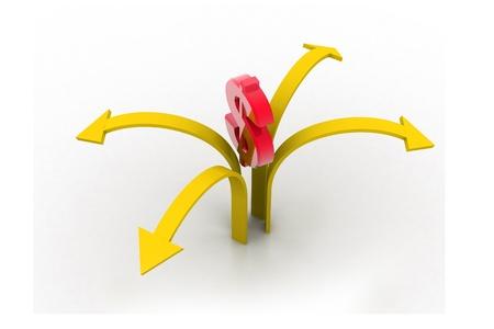 positivist: Dollar around arrows in isolated background  Stock Photo