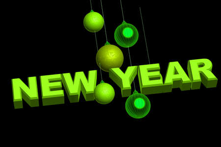 3d rendering of New yea in isolated background photo
