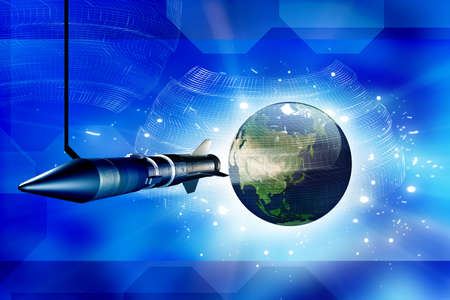 Rocket and Earth in digital background Stock Photo - 9750983