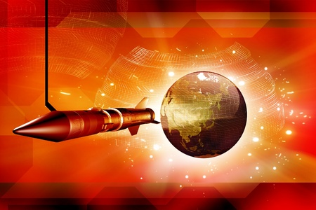 Rocket and Earth in digital background Stock Photo - 9750979