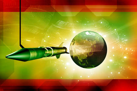 Rocket and Earth in digital background Stock Photo - 9750975