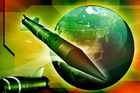 Rocket and Earth in digital background Stock Photo - 9750992
