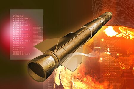 Rocket and Earth in digital background  Stock Photo - 9751008