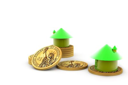 House and money isolated background  photo