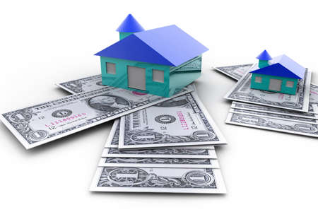 Home on pile of dollars in isolated background   photo