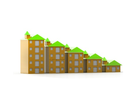 Graph houses in isolated background  Stock Photo - 9750798