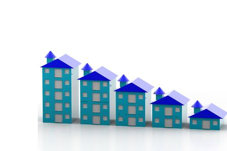 property for sale: Graph houses in isolated background  Stock Photo