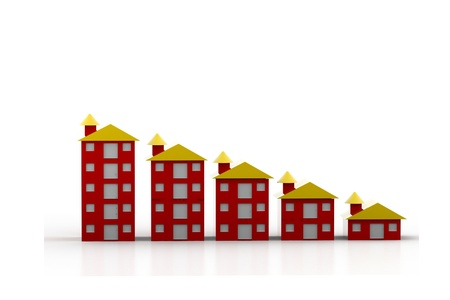 Graph houses in isolated background Stock Photo - 9746631
