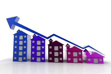 Graph houses in isolated background Stock Photo - 9746651
