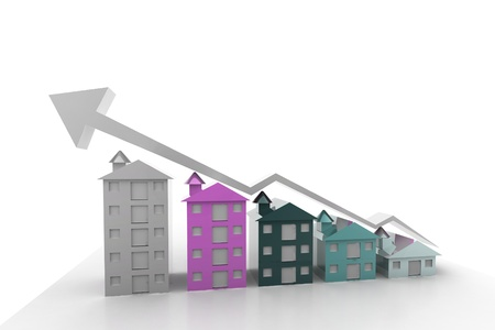 Graph houses in isolated background Stock Photo - 9753353