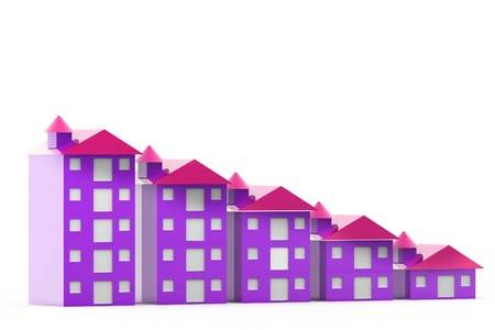 Graph houses in isolated background Stock Photo - 9753361