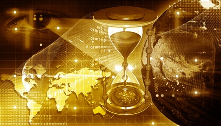 Concept of digital earth and  hour glass Stock Photo - 9751014