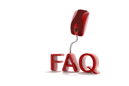 faq's: FAQs 3D Text with Computer Mouse in isolated background