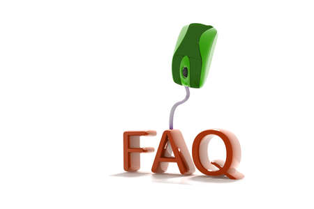faq's: FAQs 3D Text with Computer Mouse in isolated background  Stock Photo