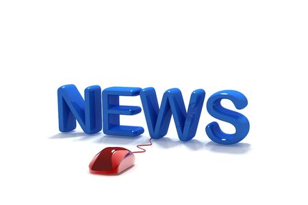 3D Word News with Computer Mouse in isolated   background Stock Photo - 9750748
