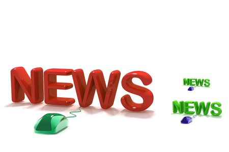 3D Word News with Computer Mouse in isolated   background  Stock Photo - 9750833