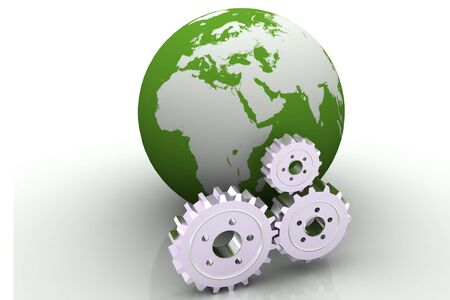 Gears and Earth Model Stock Photo - 9753402