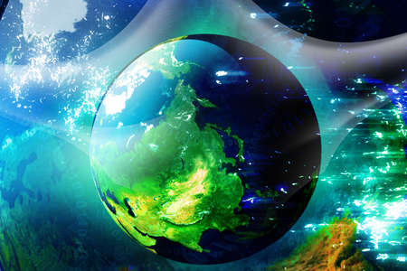 digital printing:  Concept of digital earth