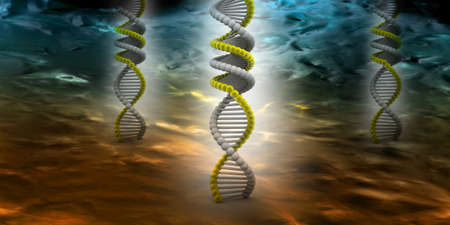 3d rendering of f DNA in abstract  background photo