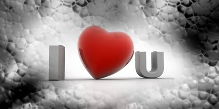 3d rendering of I love you in abstract background photo