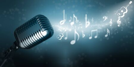 3d microphone in digital abstract background