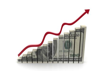 sales graph: Dollar with  graph  showing  profit
